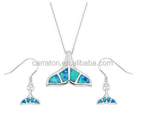 Hot Sale Earrings And Necklace 925 Solid Silver Blue Opal Whale Tail Jewelry Set