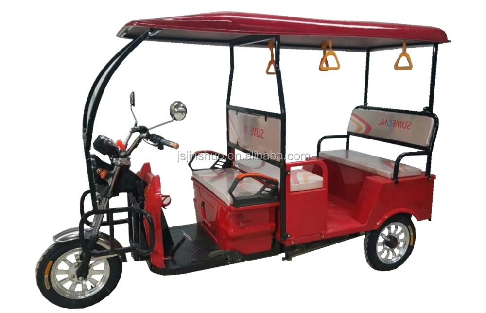 India Electric Tuktuk Taxi Adult E Rickshaw With Fiber Roof For Passenger Use