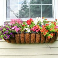 Decorative French Wrought Iron Window Box With Coco Liner