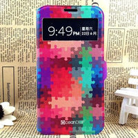 puzzle design colorful leather phone case for samsung s4 leather case
