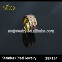 28R124 wholesales cheap gold stainless steel diamond ring