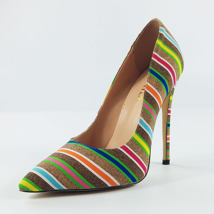 Multicolor Striped Women High Heels Court Shoes
