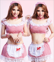 New Janpan Women Pink Cute Cosplay Maid Night Skirts Sexy Dress Girls Slim Lingerie Lady Fancy Party Skirt