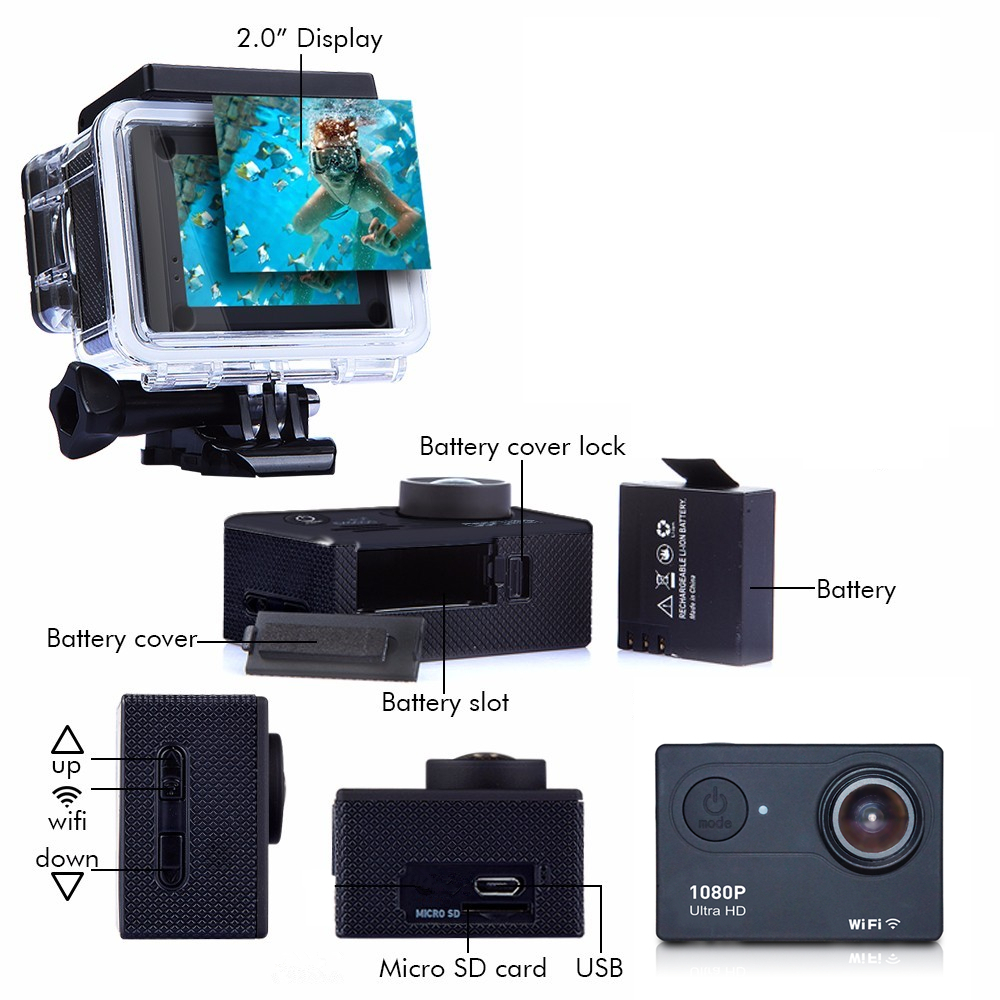 Fast Shipping IP68 waterproof Wifi full hd 1080P action camera with Unexpected low price