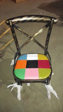 industrial metal bar chair with many color, x/cross back bar chair with leather cushion