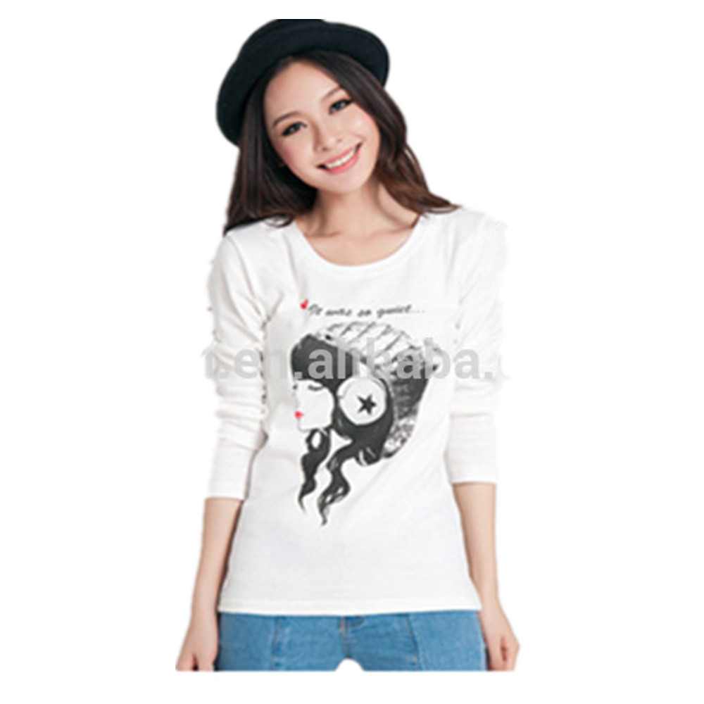 cheap crew neck cotton causal printed long sleeve tight t shirt for women