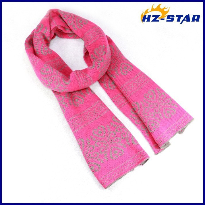HZW-13737022 pink long fashion butterfly flower new style Norway Christmas scarf