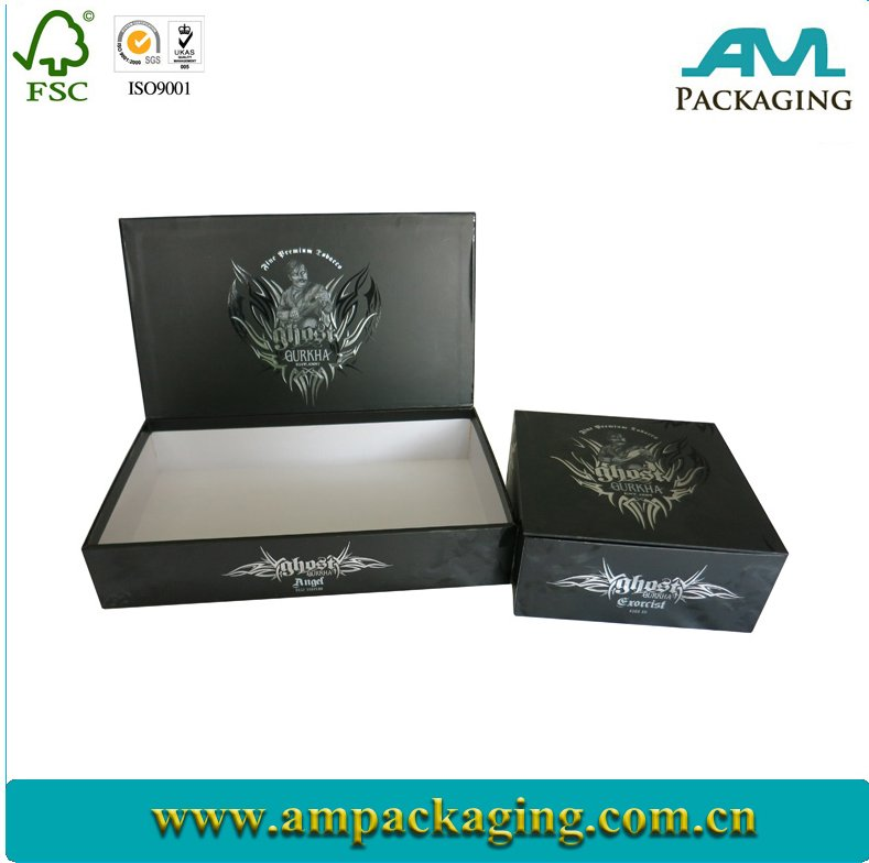 Set Up Paper Packaging Box for Cigarette black lid with embossing foiling