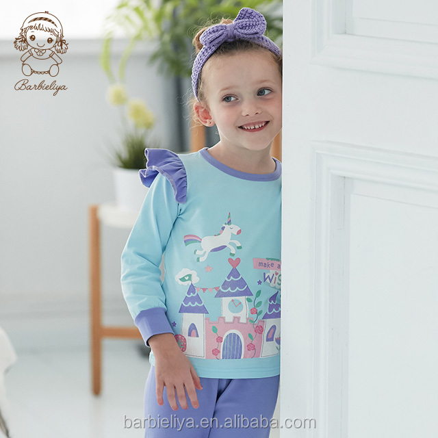 B0905 Wholesale nightwear unicorn 2 pcs long sleeves sleepwear children pyjamas