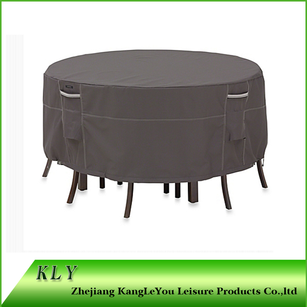 Waterproof outdoor furniture cover for round table with chairs in black