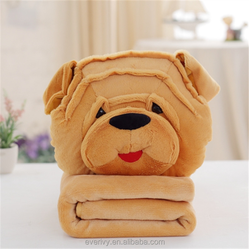 3 In 1 Cute Cartoon plush animal dog design pillow blanket with Hand Warmer