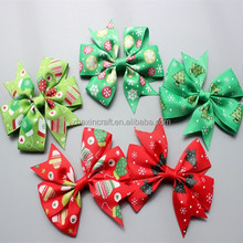 red green satin ribbon hair bow for Christmas Decoration