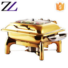 Kitchen equipment glass lid square indian chafer buffet serving dish kingo gold chafing dish for food warmer