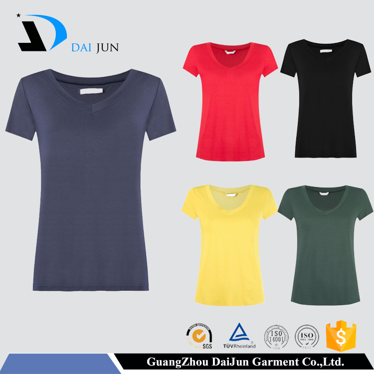 Daijun Guangzhou OEM Hot Sale V Neck 100% 160g Cotton Slim Blank women tshirts