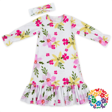 New Design Girls Long Sleeve Winter Dress And Headband Cheap Flower Girl Party Dresses