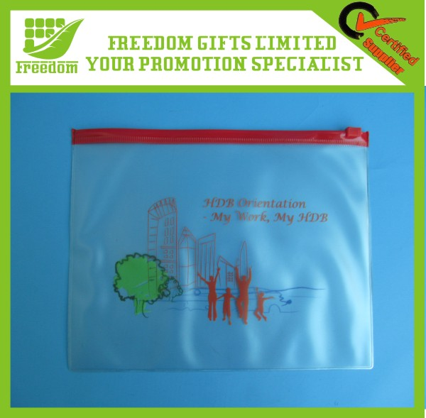 Logo Printed Transparent Zipper File Folder Bag