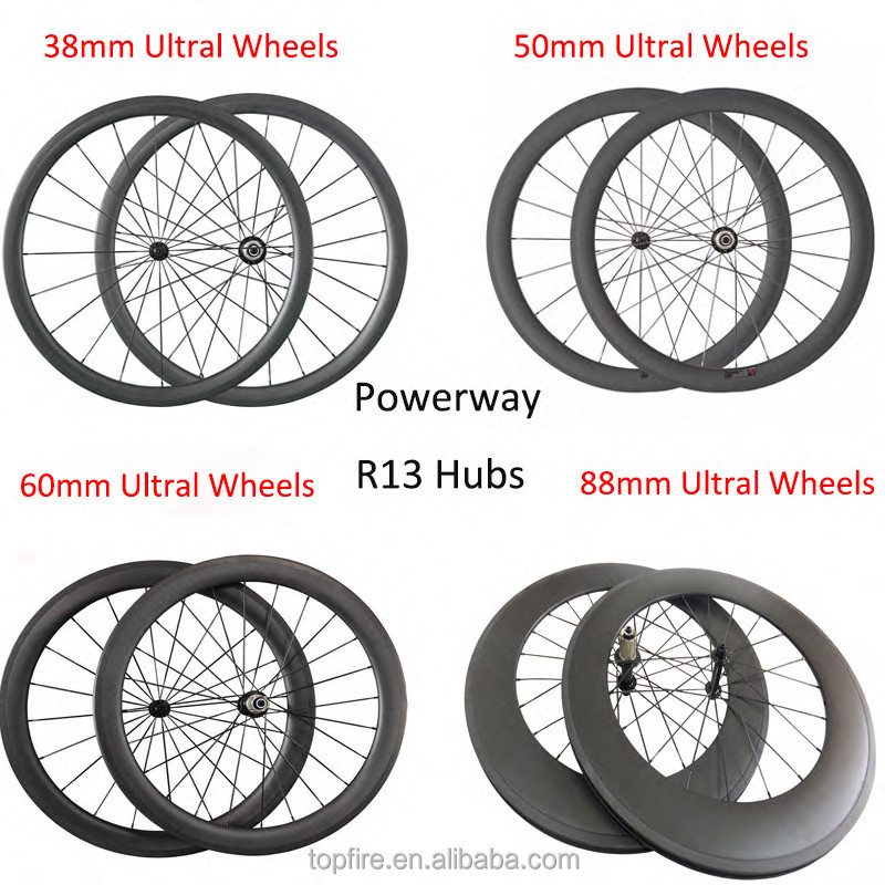 Light Carbon Wheels 700C 23mm Width 24mm 38mm 50mm 60mm 88mm Deep Tubular Clincher Racing Bicycle Wheel Road Bike Wheelset