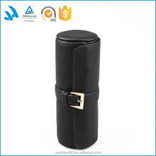 Fashion black leather travel use round jewelry roll bag wholesale