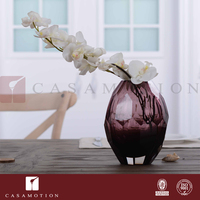 CASAMOTION Brown Solid Color Diamond Shape Shiny Center Table Decorations Glass Vase