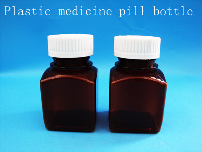 100g amber plastic bottle for medicine pill ,empty bottle with flip top caps for containing pills, square , round shape bottle