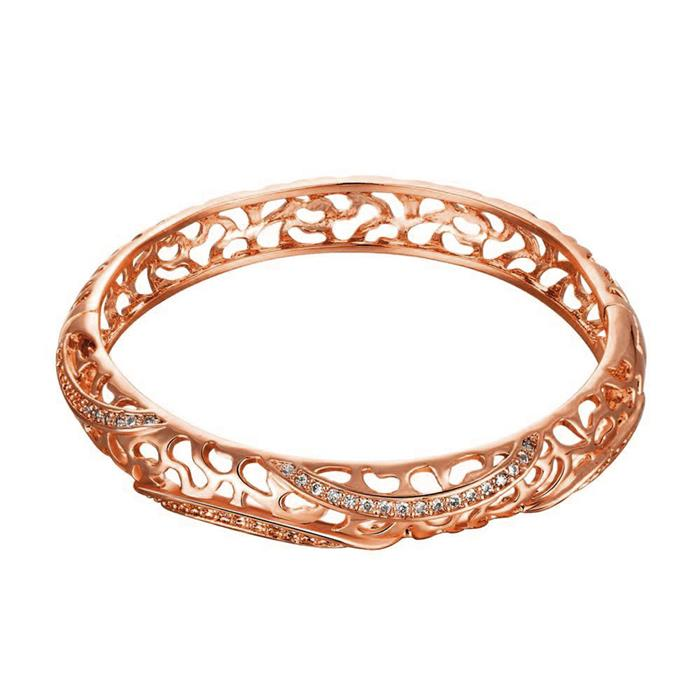 Copper & Cubic Zirconia Women Romantic Bangles Bracelets Rose Gold Clear Round