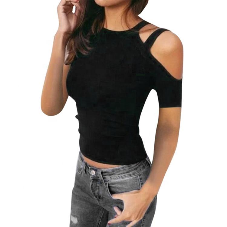 549267001 En venta verano medias jóvenes niñas blusa hombro casual Tops monograma  Sexy T camisa de las