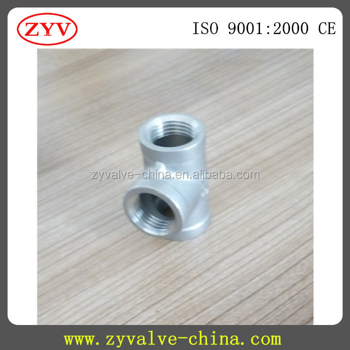 304 316 BSP thread stainless steel reducing tee CE approved