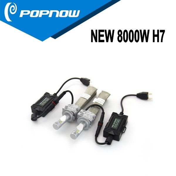 2016 new fanless 8000lm led headlight kit with P*H*I*L*I*P Chip H7 universal automatic headlights kit