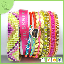 New Fashion Bracelets for Women 2015 DIY Bohemia Crystal Handmade Beach Bracelet Magnetized Brazilian Multilayer Jewelry