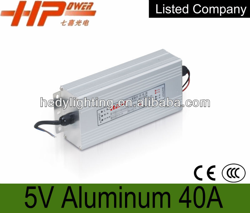 China supplier 5V 40A 200W High efficiency rgb power led driver waterproof,Manufacturer