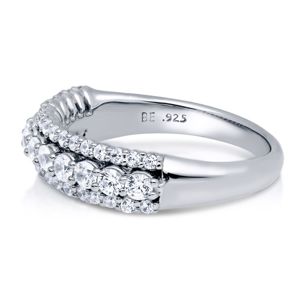 3925 Sterling Silver CZ Half Eternity jewelry ring R500447