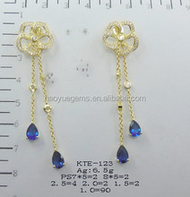 wholesale lady costume golden yellow dangle earring with pear sapphire stone