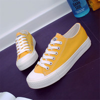 New Style Girls Flat Casual Low Heel Shoes Solid Color Simple Canvas Shoes With Beautiful Shoelace