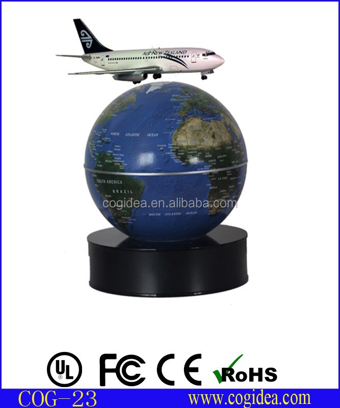rotating globe base floating and turning aircraft model with AC adaptor