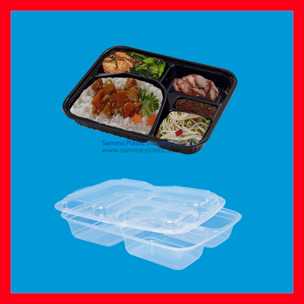 Clear Cover Disposable Plastic Bento Box
