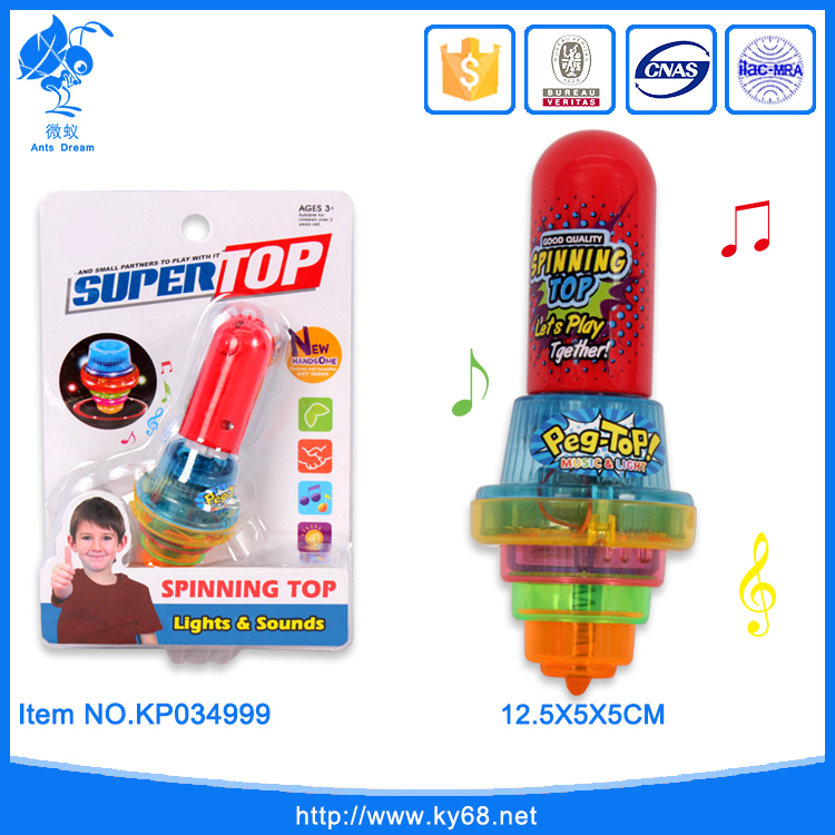 Hot sale flash light kids music spinning top toy
