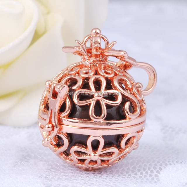 Fashional Design Jewelry Rose Gold Plated Four Leaf Clover Cage Pregnant Mexican Chime Bola Ball Locket Pendants Necklace