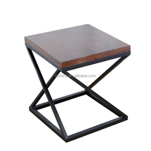 FN-6722 non fold industiral metal base square wood side coffee table