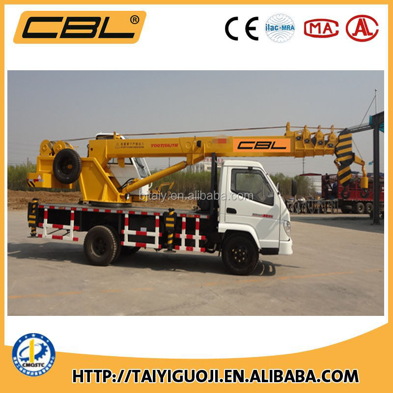 QY7 two hoisting winches max boom length 24m Hydraulic Truck Crane with 7 ton capacity
