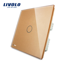 Livolo New Arrival, 20A Wall Touch <strong>Switch</strong>, Golden Glass Panel, For High-power Electrical Appliances, VL-C301K-63