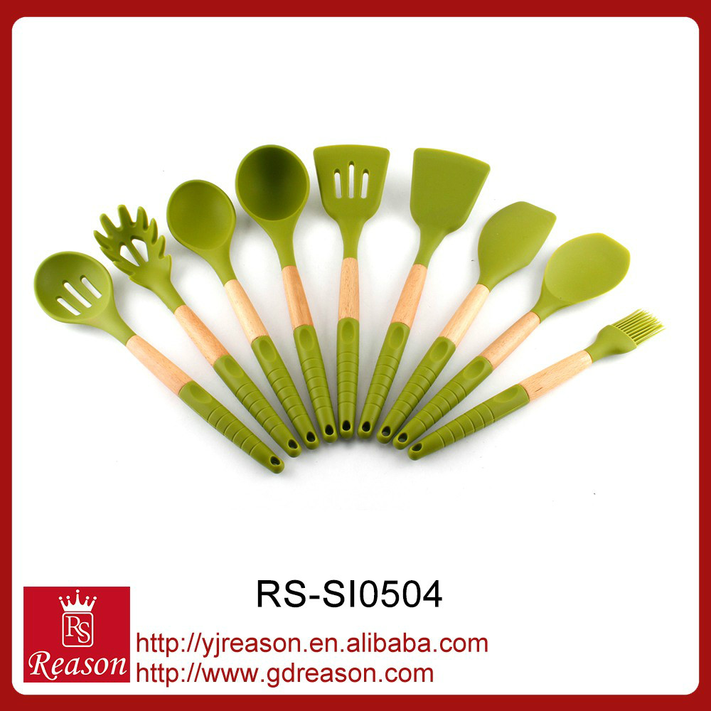 New design 2016 wood silicone kitchen utensils set
