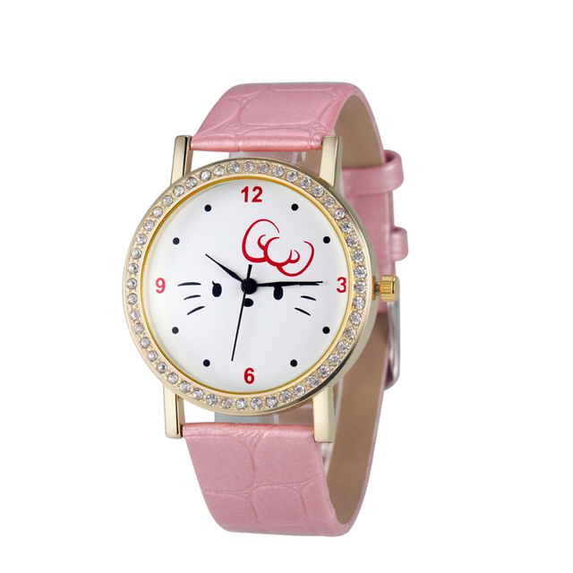 2018 New design stainless steel case back wrist watch,good quality leather strap kid watch for gift