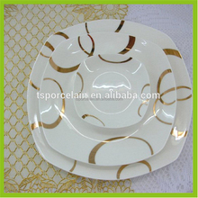 best products for import modern square bone china dinner set with gloden