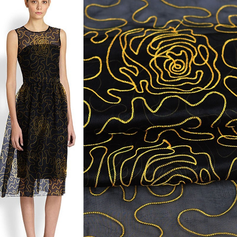 black gold 100% silk organza embroidered tulle fabric