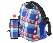 Blue plaid Neoprene Tote Lunch Bag with Strap Match Insulated Water ottle Cooler Case Holder Suit For School,Traveling