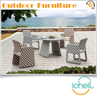 NW29 Lena Weatherproof Outdoor Garden Poly Rattan White Flower Dining Patio Rattan Furniture