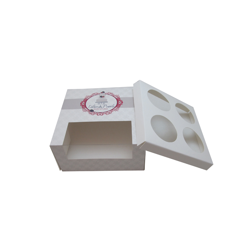 Custom Cheap Mini Cupcake Boxes wholesale White Cupcakes Boxes With Window And Cake Inserts