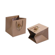 Custom Paper Party Gift Bags Sunflower Rectangle Brown Paper Gift Packaging Bag