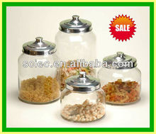 glass storage jars biscuit containers with aluminium lids