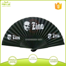 chinese bamboo fabric hand fan with custom logo stamped